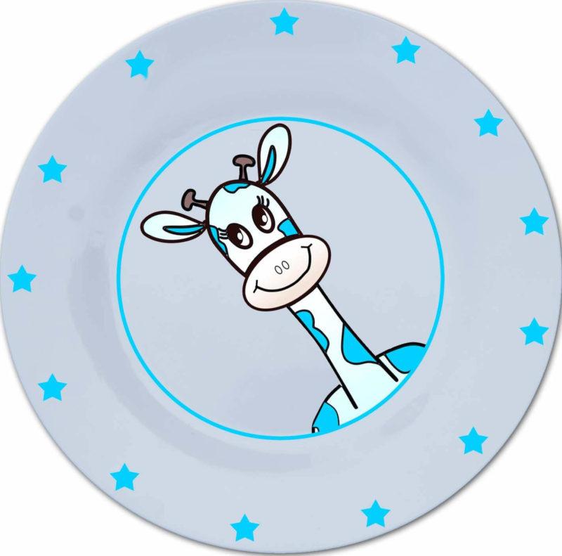 Bord met naam en blauwe giraffe-969