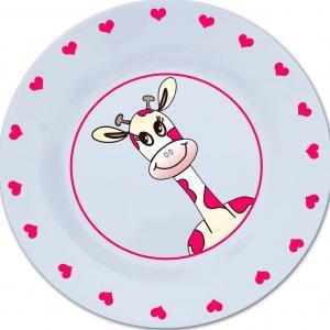 Bord met naam en roze giraffe-0