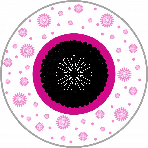 Bord met naam en bloemetjes-0